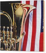 Tuba And American Flag Wood Print by Garry Gay