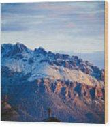 Tucson Mountains Snow Wood Print