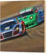 Tudor Audi R8 Races Porsche 911rsr United Sportcar Championship Wood Print