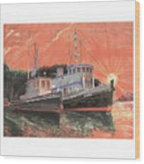Tug Boats Anchored In Red Sky Wood Print