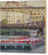 Tug Derek E And Barge On The Calumet River Wood Print