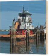 Tug Indian River At Port Canaveral In Florida Usa Wood Print