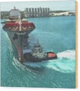 Tugboat At Freeport, Grand Bahamas Harbor Wood Print