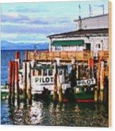 Tugboat At Rest Wood Print