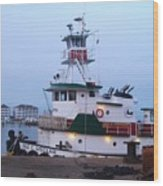 Tugboat At Twilight Wood Print