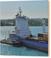 Tugboat Helping Container Ship Out Of Harbor Wood Print