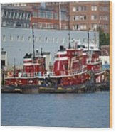 Tugs At Rest Wood Print
