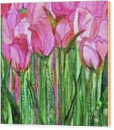Tulip Bloomies 1 - Pink Wood Print