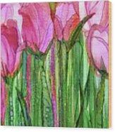 Tulip Bloomies 2 - Pink Wood Print