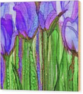Tulip Bloomies 2 - Purple Wood Print