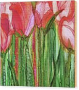Tulip Bloomies 2 - Red Wood Print