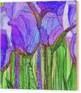 Tulip Bloomies 3 - Purple Wood Print