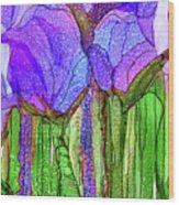 Tulip Bloomies 4 - Purple Wood Print