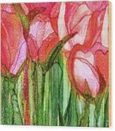 Tulip Bloomies 4 - Red Wood Print
