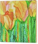 Tulip Bloomies 4 - Yellow Wood Print