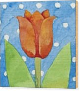 Tulip Blue White Spot Background Wood Print
