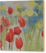 Tulip Field Wood Print