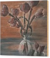Tulip Flowers Bouquet In Two Round Water Filled Small Globe Shaped Vases On A Table Still Life Of Bo Wood Print