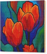Tulip Trio Wood Print by Marion Rose