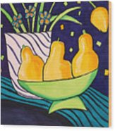 Tulips And 3 Yellow Pears Wood Print