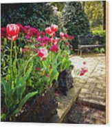 Tulips And Bench Wood Print