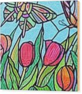Tulips And Butterflies Wood Print