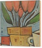 Tulips And Coffee Wood Print