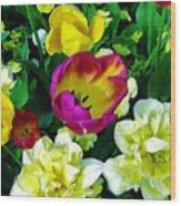 Tulips And Flowers  Wood Print