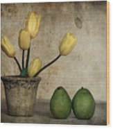 Tulips And Green Pears Wood Print