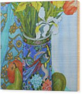 Tulips And Iris In A Japanese Vase, With Fruit And Textiles Wood Print
