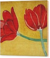 Tulips And Love Happy Together Wood Print