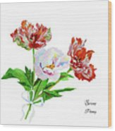 Tulips And Pink White Peony Wood Print