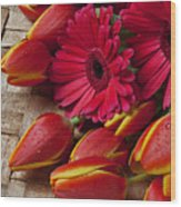Tulips And Red Daisies  Wood Print