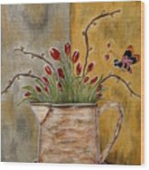 Tulips And The Lovely Bee Wood Print