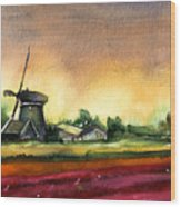 Tulips And Windmill From The Netherlands Wood Print