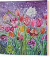 Tulips Are Magic In The Night Wood Print