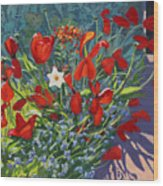 Tulips By The Gate Wood Print