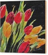 Tulips Colors Wood Print
