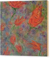 Tulips- Floral Art- Abstract Painting Wood Print