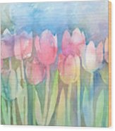Tulips In A Row Wood Print