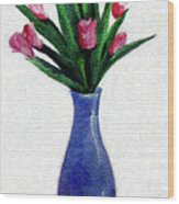 Tulips In A Tall Vase Wood Print