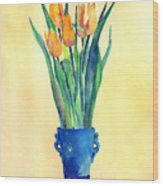 Tulips In A Vase Wood Print
