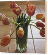Tulips In A Vase On Tile Wood Print