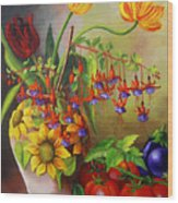 Tulips In A Vase With Some Tomatoes Wood Print