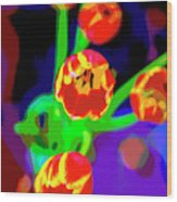 Tulips In Abstract Wood Print