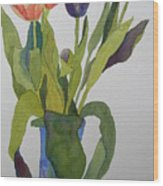 Tulips In Blue Vase Wood Print
