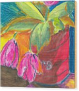 Tulips In Can Wood Print