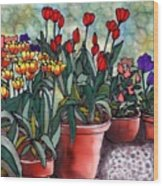 Tulips In Clay Pots Wood Print by Linda Marcille