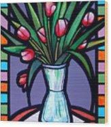 Tulips In Glass Vase Wood Print