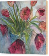 Tulips In Rosie's Vase Wood Print